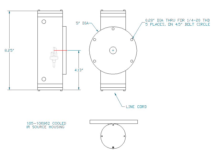 McPherson water cooled lamp housing, Outline Drawing