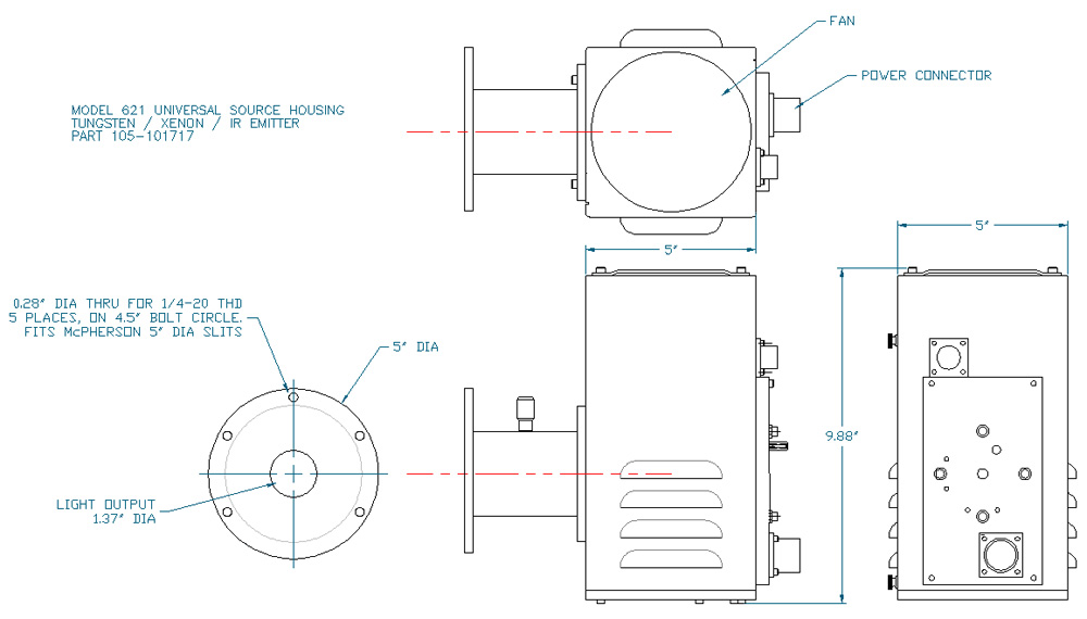 McPherson Model 621 Universal Light Source, Outline Drawing