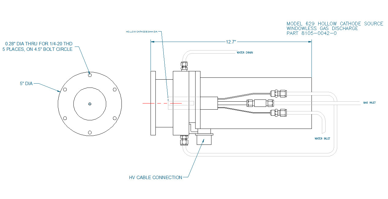 McPherson Model 629 Hollow Cathode Source, Outline Drawing