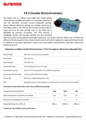 Technical Data sheet describing double monochromator